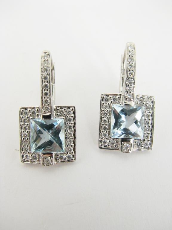 18K White Gold Blue Topaz, Diamond Drop Earrings