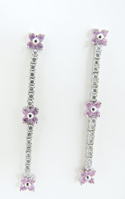 14K White Gold Diamond, Pink Sapphire Earrings