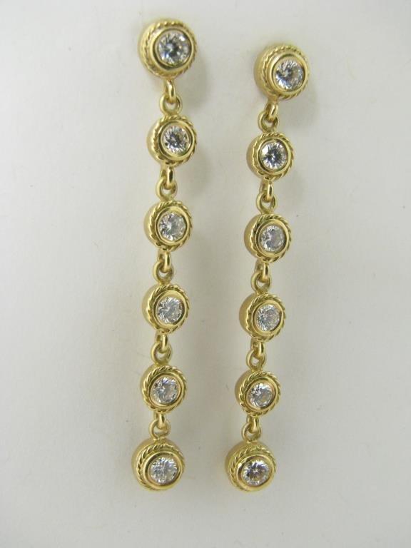 Pair of 18K Yellow Gold Diamond Dangle Earrings