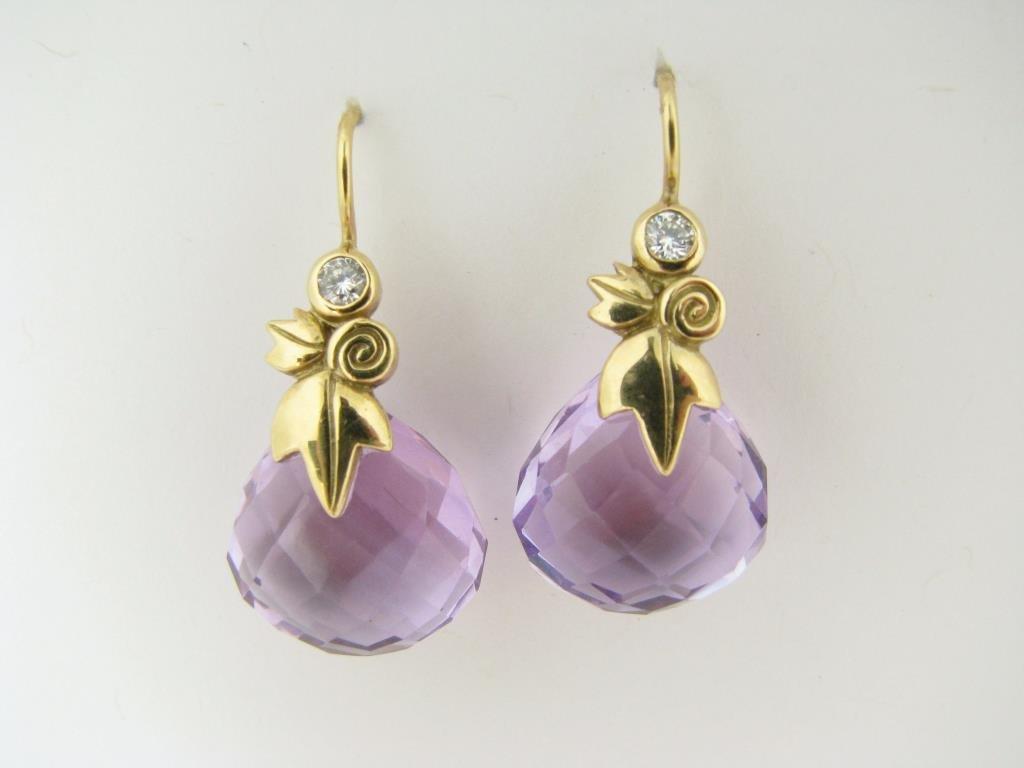 Pair of 18K Yellow Gold Amethyst, Diamond Earrings