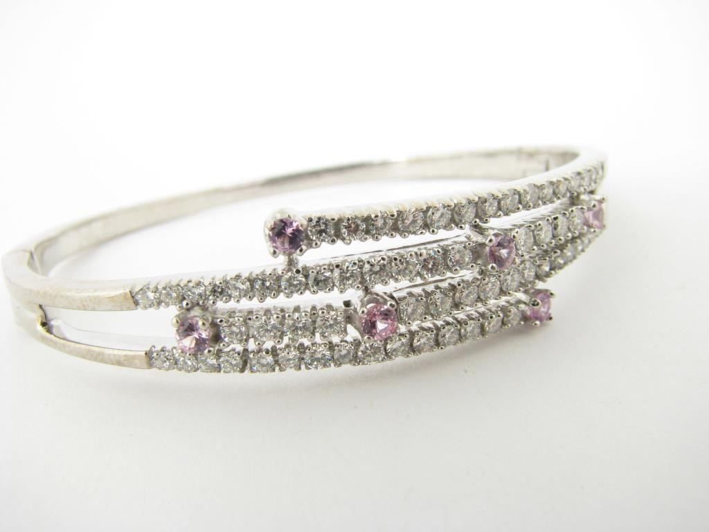 14K White Gold Diamond, Pink Sapphire Bangle
