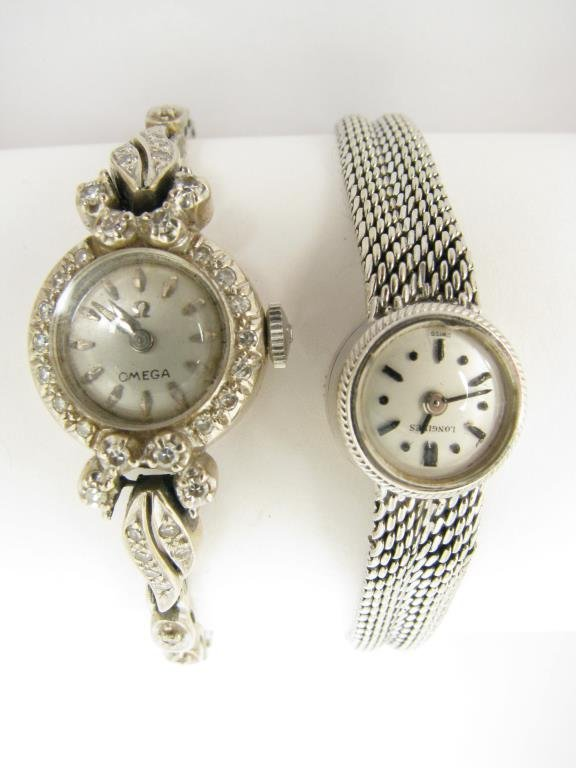 Two Lady's Vintage 14K Watches, Longines, Omega