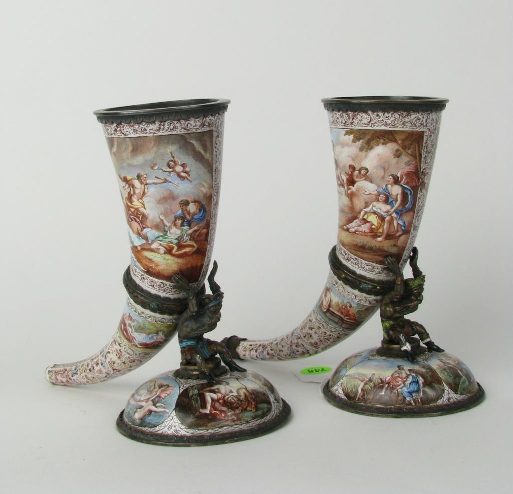 Two Porcelain 19th Century Cornucopias
