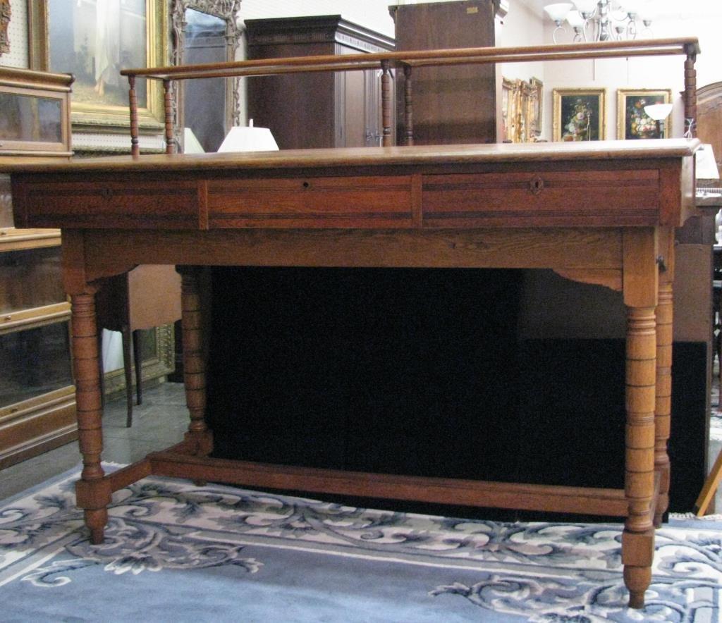 Antique Oak Railroad Agent's Desk