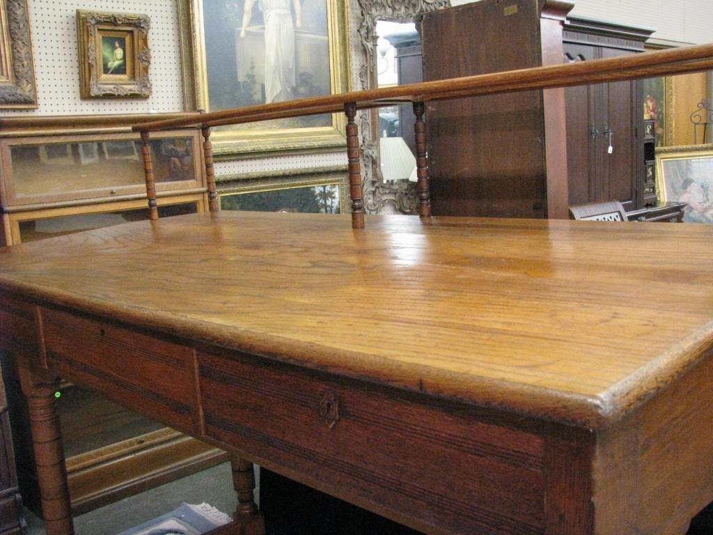 Antique Oak Railroad Agent's Desk - 3