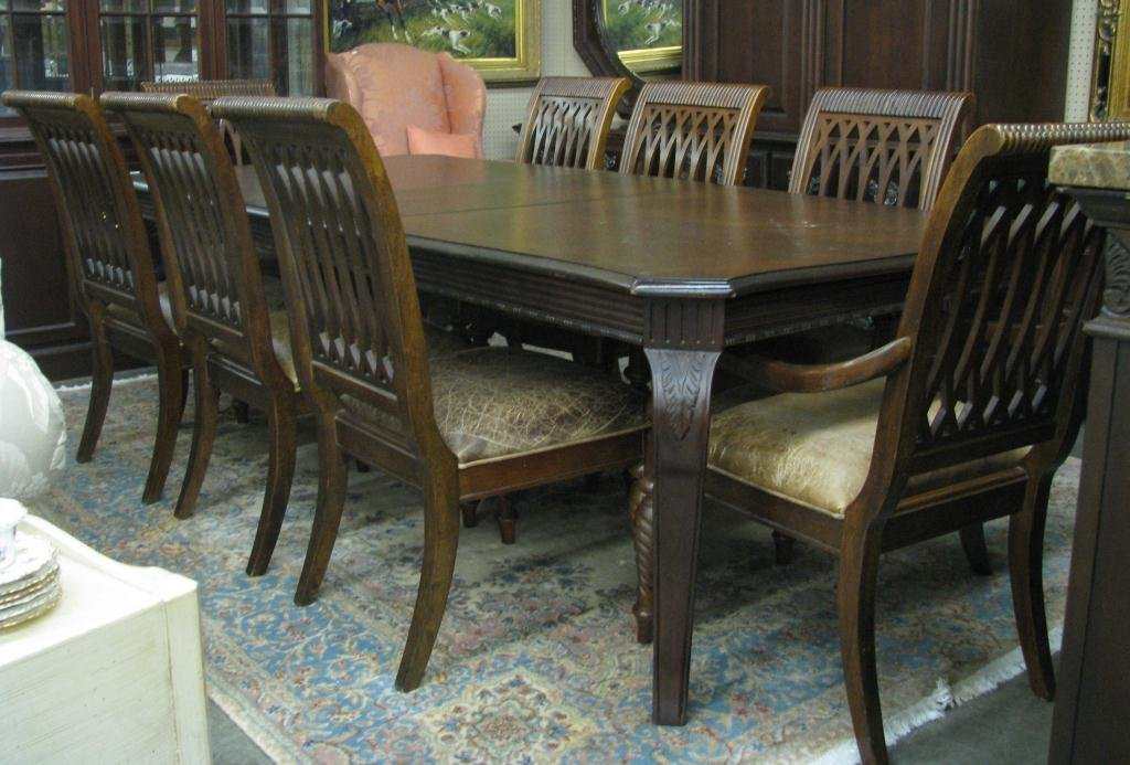dining rm, embassy row, table, 8 chairs