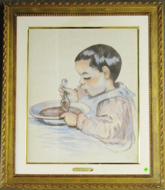 "Jean Guillaumin 20x16 Pastel ""Enfant Mangeant"""