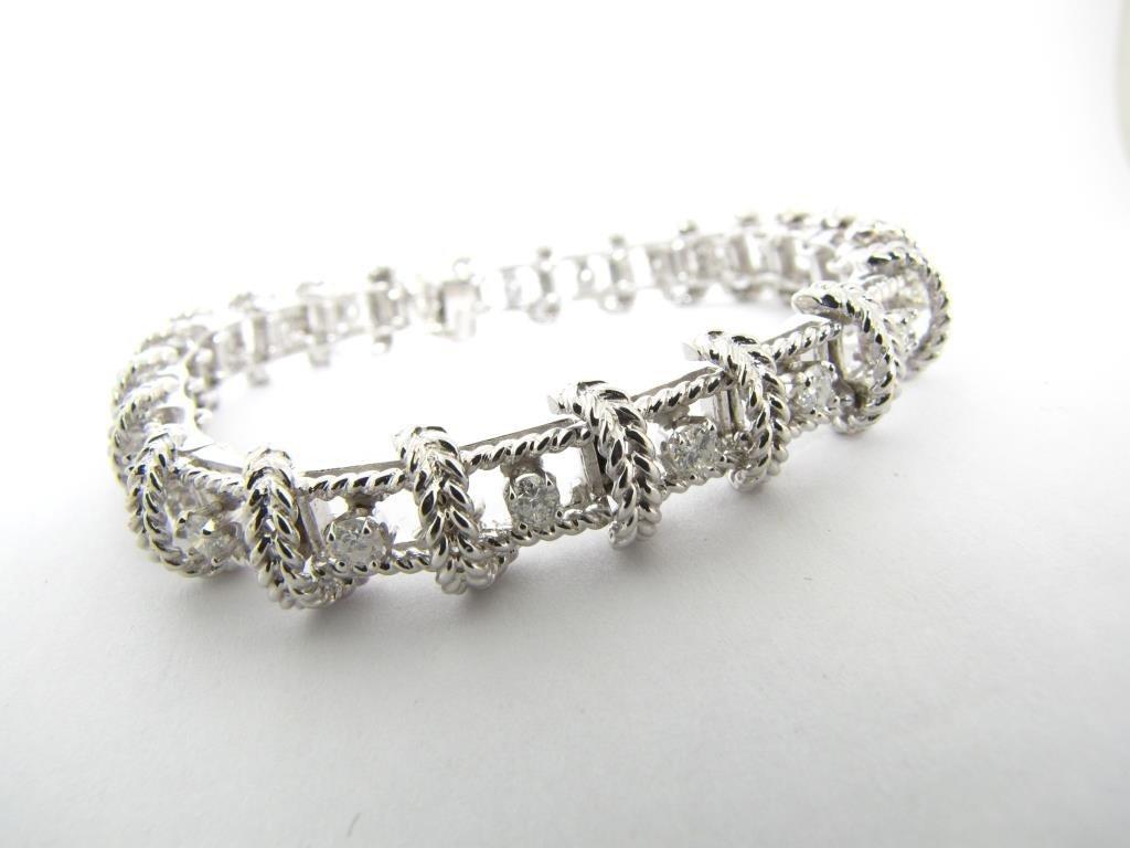 14K White Gold Lady's Diamond Line Bracelet