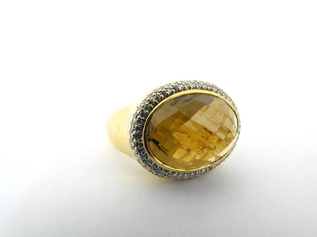 Yurman 18K Yellow Gold Olive Quartz Diamond Ring