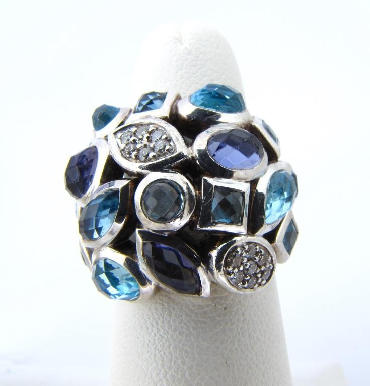 David Yurman Sterling Ring with Colored Stones