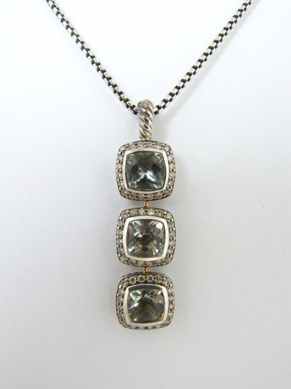 David Yurman Sterling Quartz, Diamond Pendant