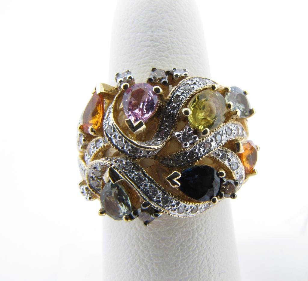 14K Yellow Gold LeVian Multi-Color Sapphire Ring