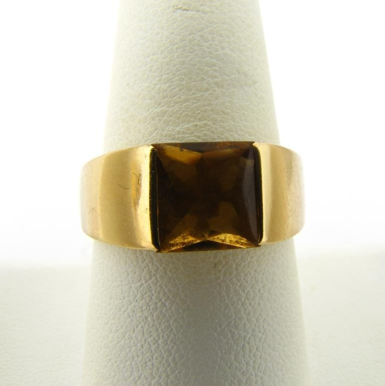 18K Yellow Gold Cartier Citrine Tank Ring