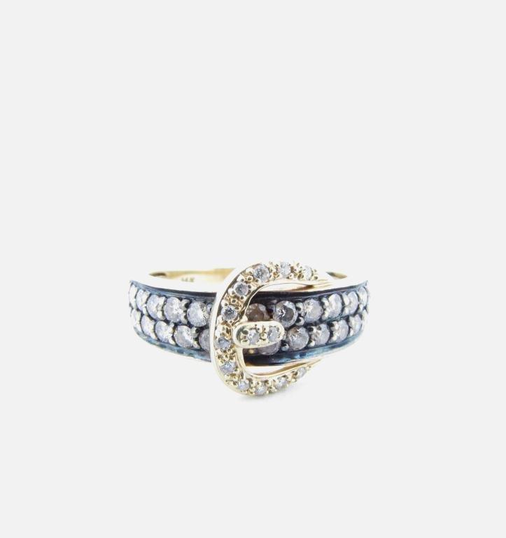 LeVian 14K Yellow Gold Diamond Buckle Ring