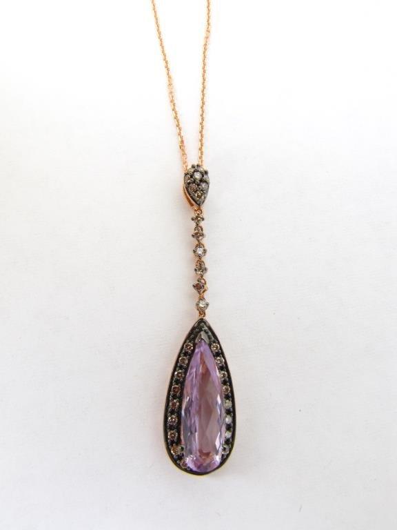 14K Rose Gold LeVian Amethyst, Diamond Pendant