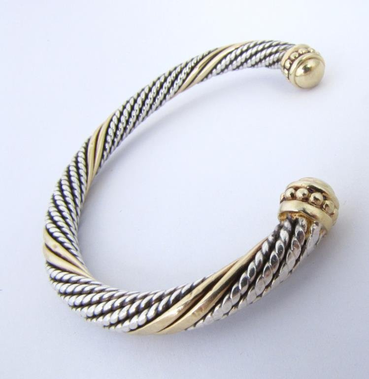 Sterling and 14K Yellow Gold Bangle