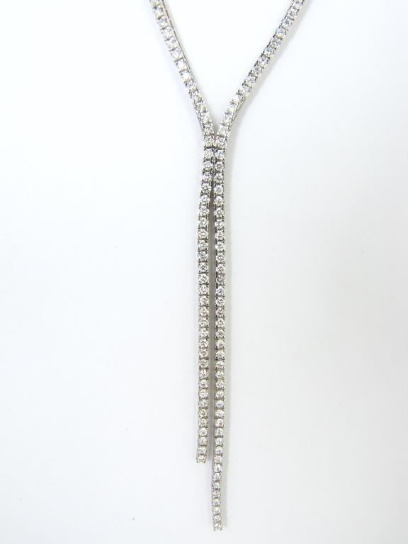 18K White Gold Diamond Zipper Necklace