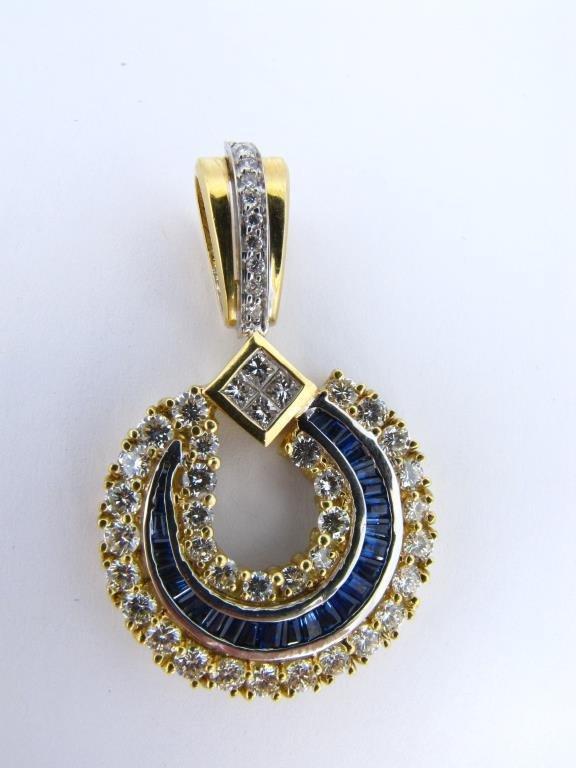 18K Yellow Gold Sapphire, Diamond Pendant