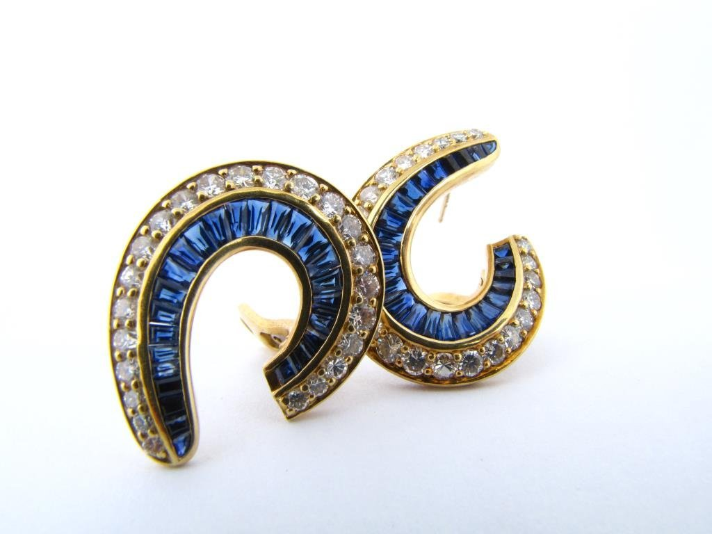 Pair of 18K Yellow Gold Sapphire, Diamond Earrings