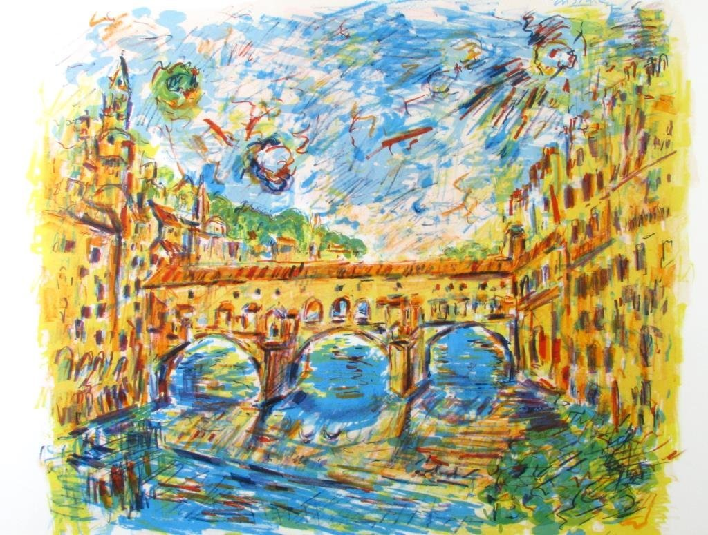 """Wayne Ensrud Lithograph """"View of Florence, Italy"""""""