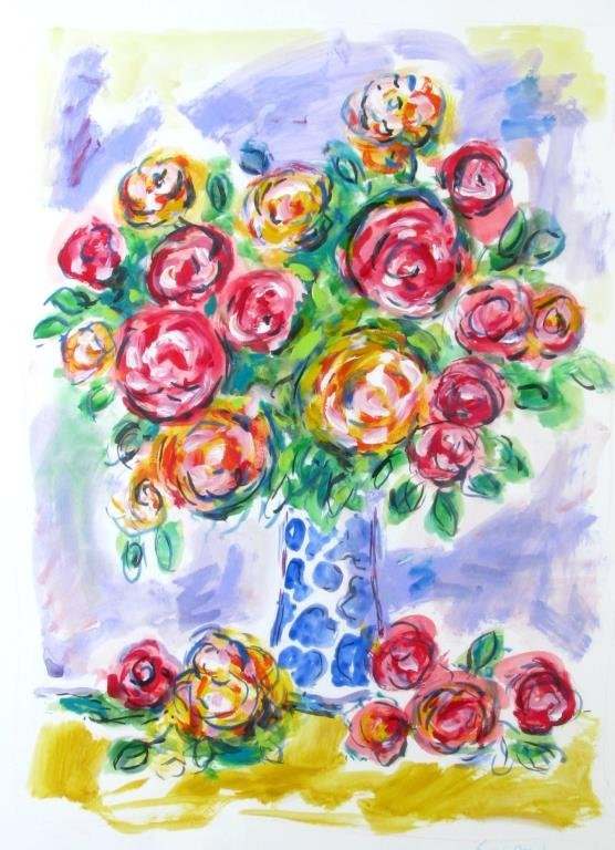 Wayne Ensrud Lithograph Bouquet of Flowers
