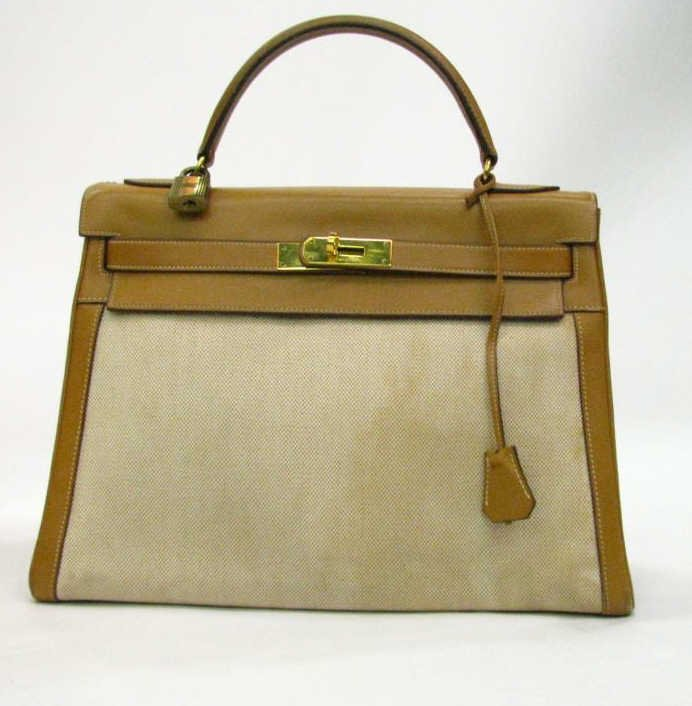 Hermes Vintage Kelly Canvas and Leather Bag