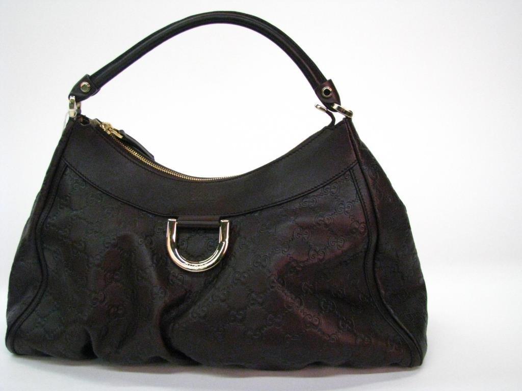 Gucci Brown Leather Logo Hobo Bag