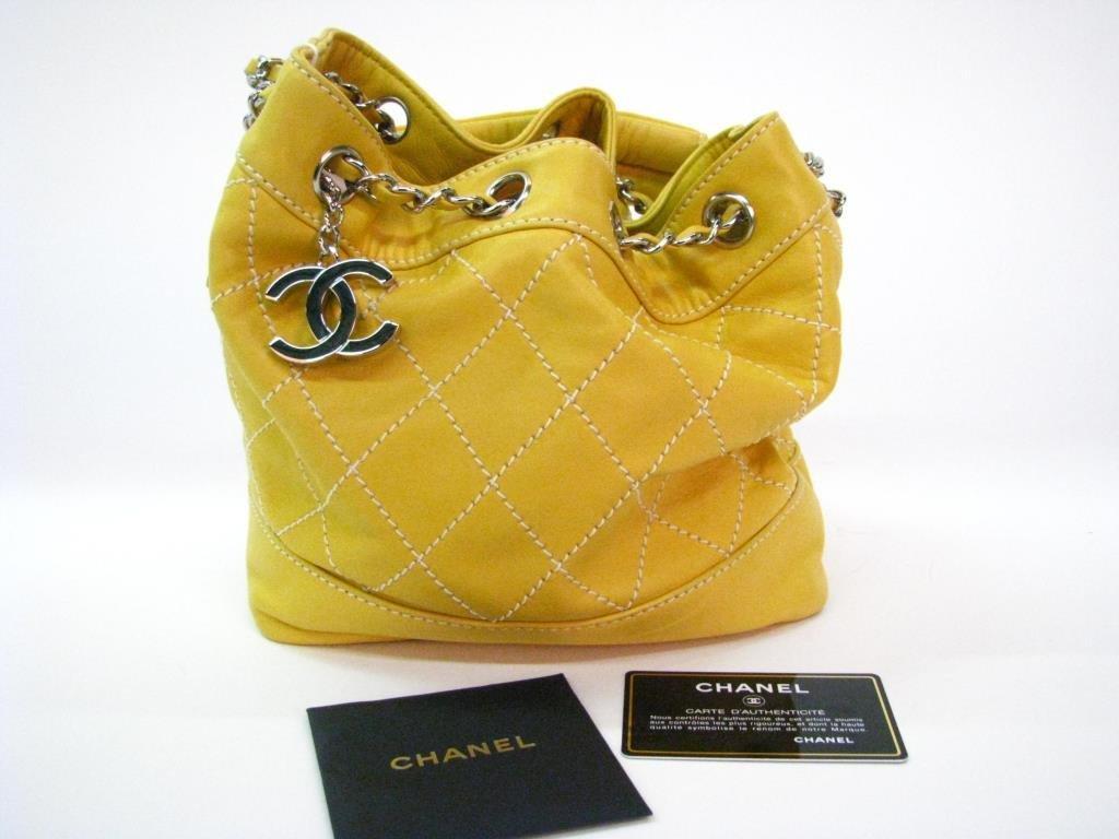 Chanel Yellow Leather Drawstring Purse