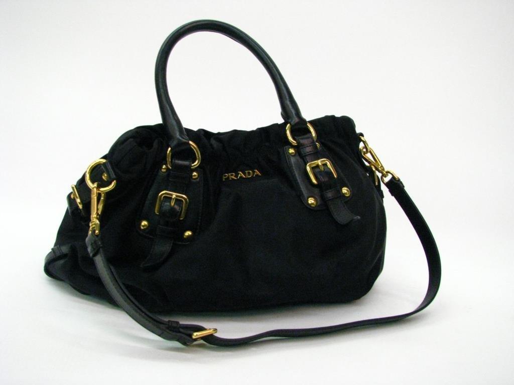 "Prada Nero Nylon Jacquard ""Shoppers"" hand bag"