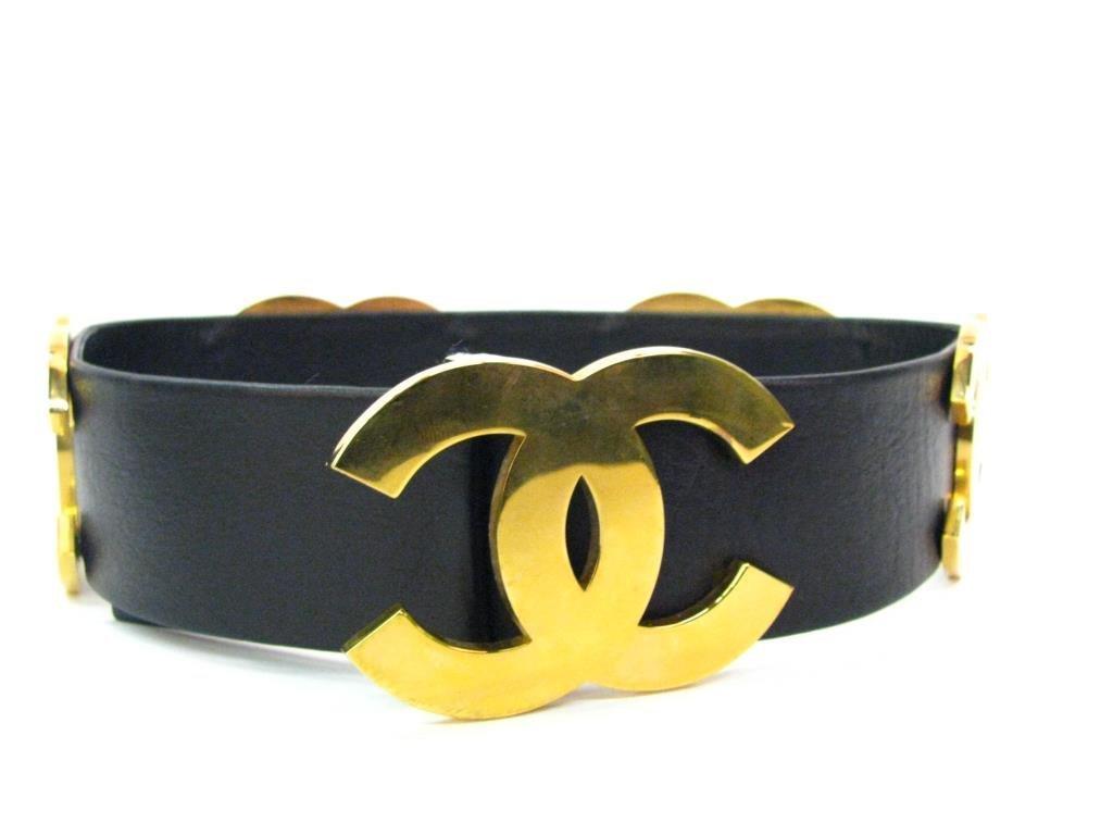 Chanel Vintage Black Leather Logo Belt
