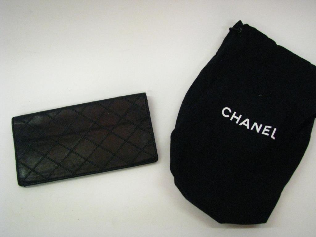 Chanel Black Leather Bi-Fold Checkbook Cover