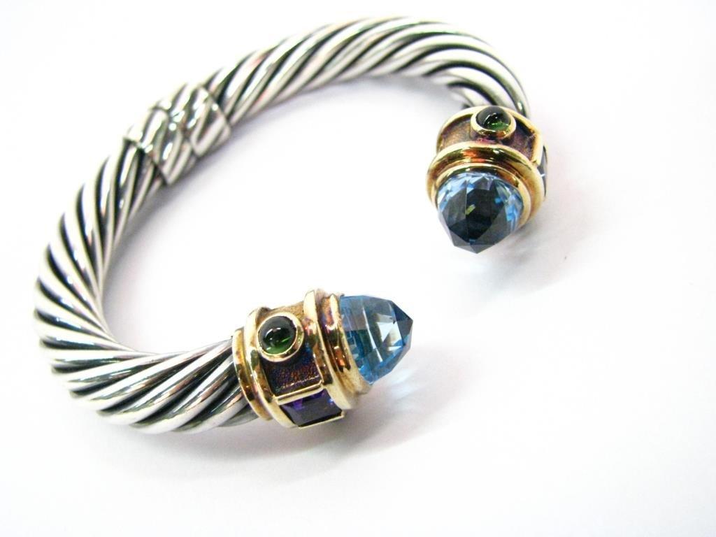 David Yurman 14K, Sterling Multi-Stone Cuff