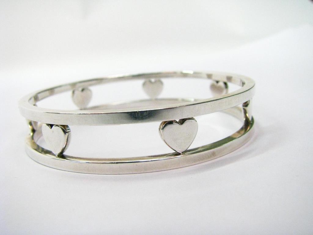 Tiffany & Co. Sterling Heart Bangle Bracelet