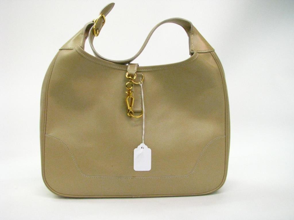 Hermes Vintage Tan Leather Hobo Bag