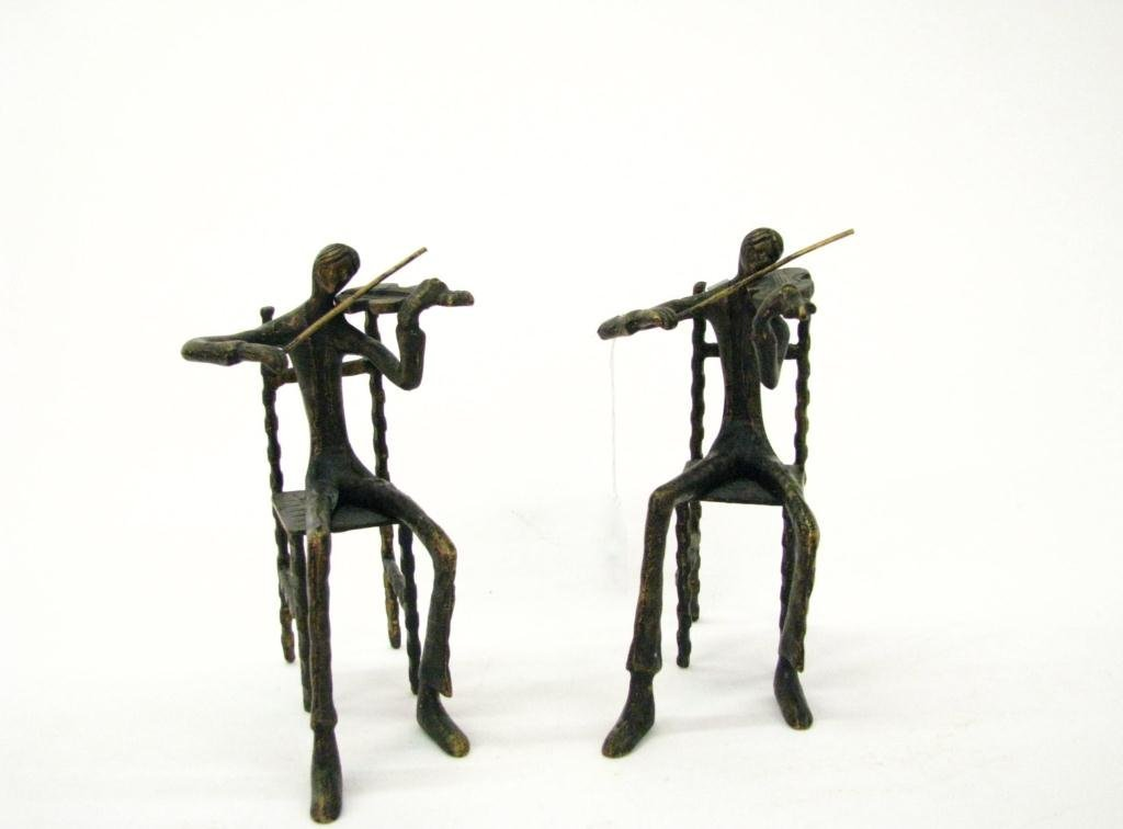 Pair of Decorative Bronze Sculptures, Violinists