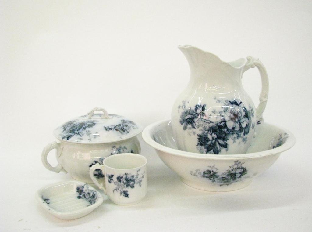 "Alfred Meakin ""Peony"" Porcelain Wash Bowl Set"
