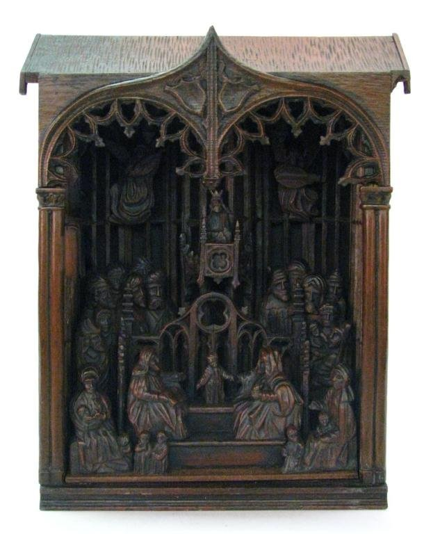 French Gothic Hand Carved Nativity Scene