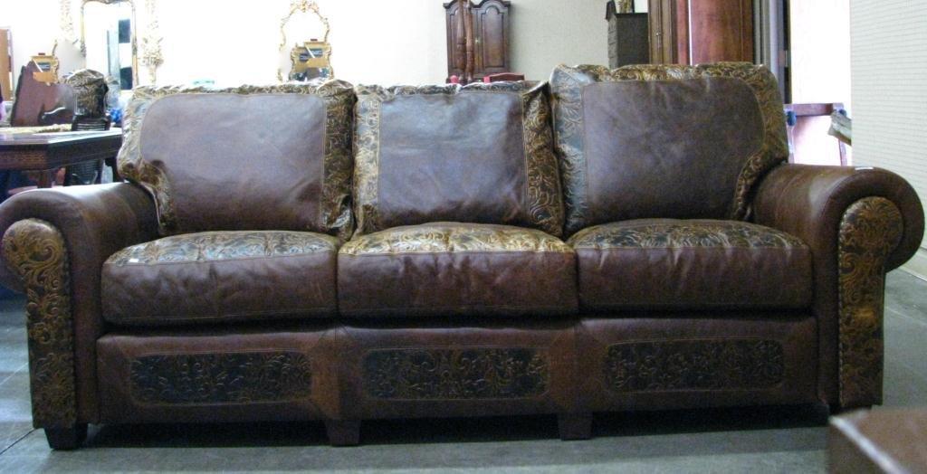 Legacy Embossed Leather Sofa