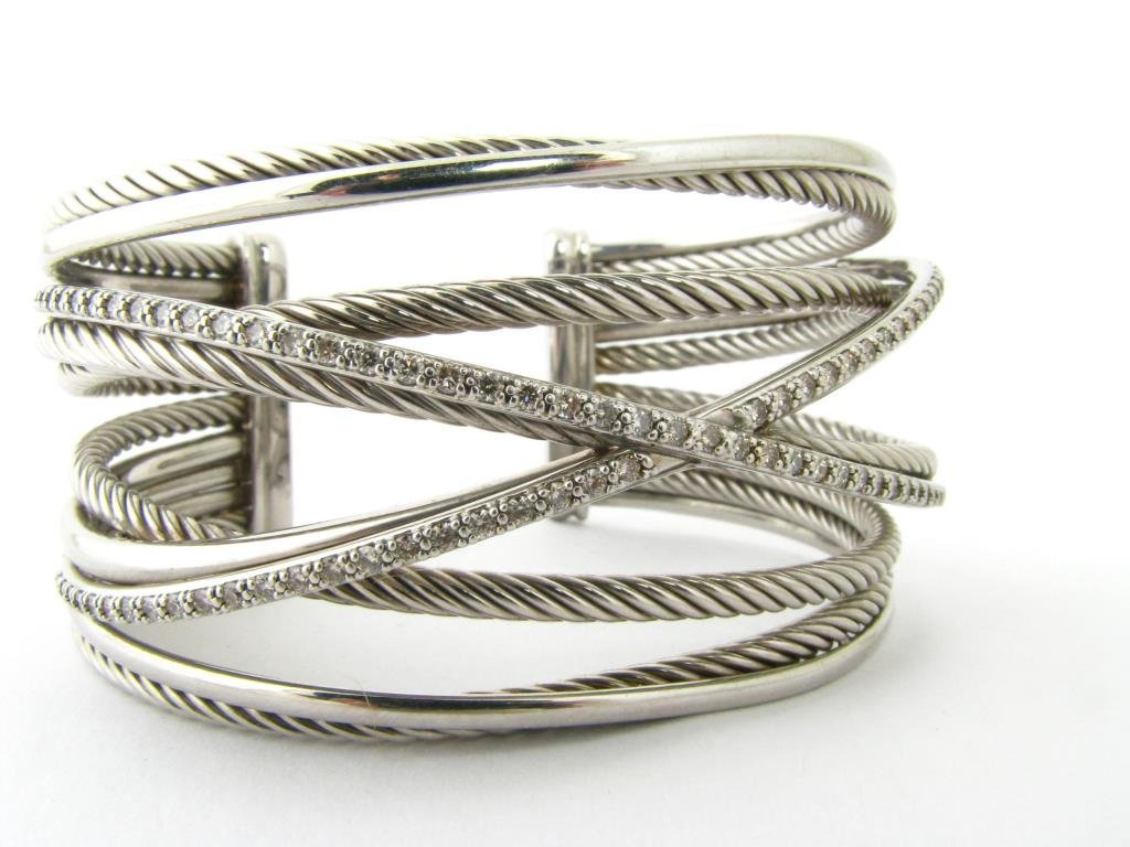 Yurman 14K/Sterling Crossover Bangle Bracelet