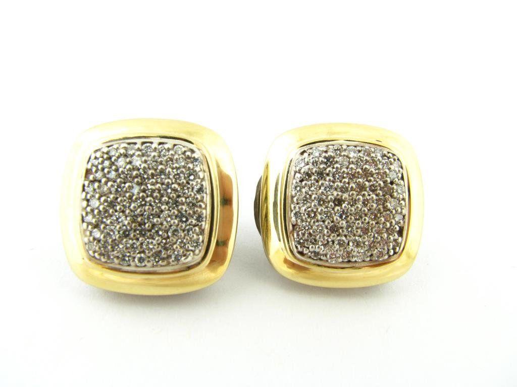 Pair of David Yurman Sterling/18K Diamond Earrings