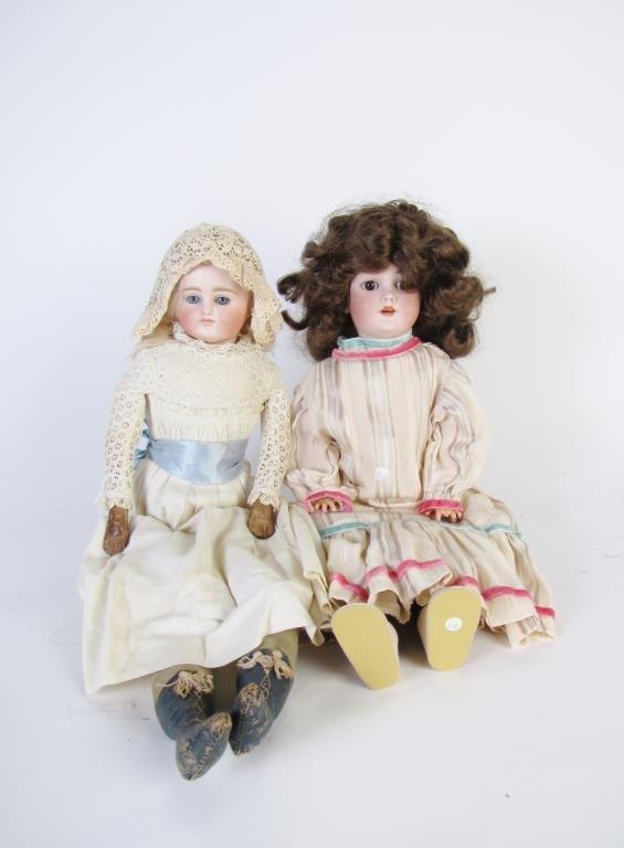 Two Antique Bisque Head Dolls