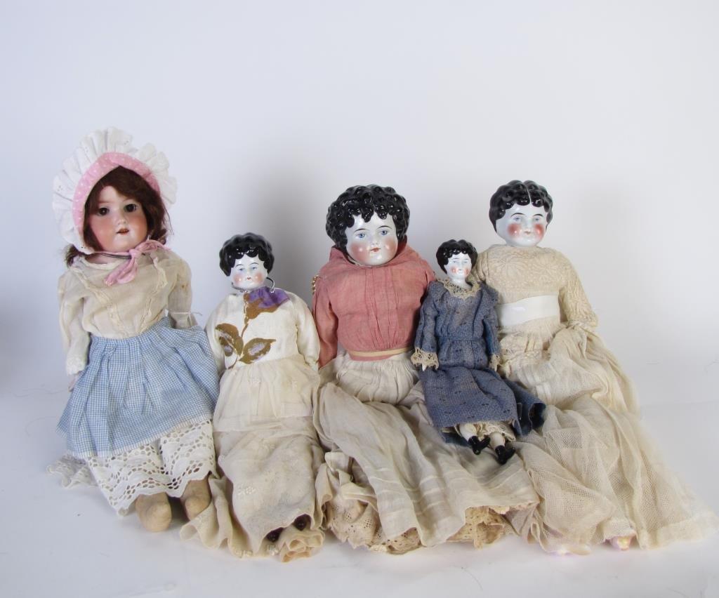 Group of Five Vintage Dolls