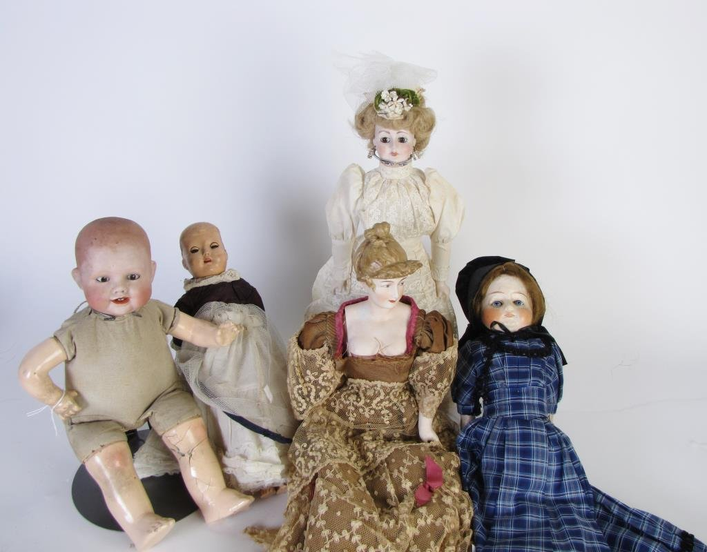 Group of Five Dolls