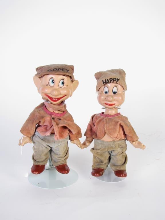 Two Vintage Snow White & Seven Dwarfs Dolls
