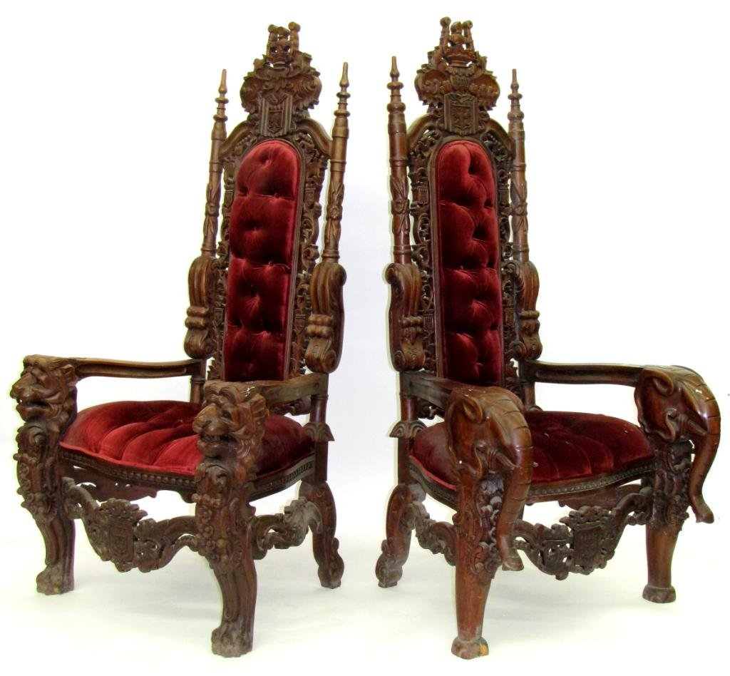 Pair of Carved Impressive Tuscano Chairs