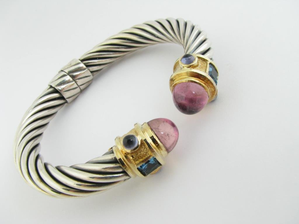 Sterling/18K YG Yurman Pink Tourmaline Cable Cuff