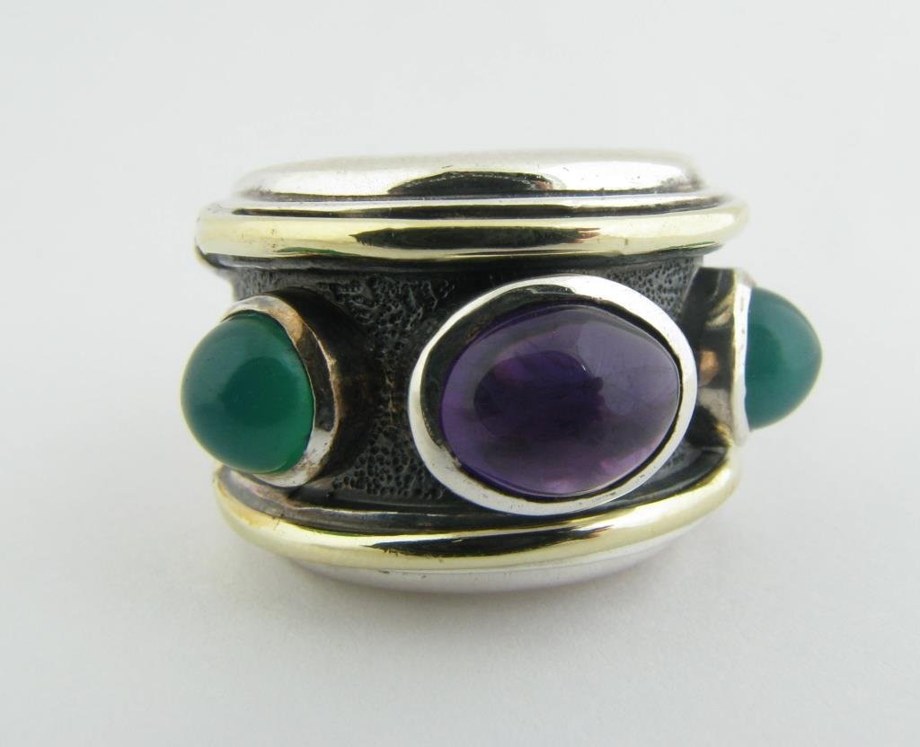 Sterling Yurman Amethyst/Green Chalcedony Ring