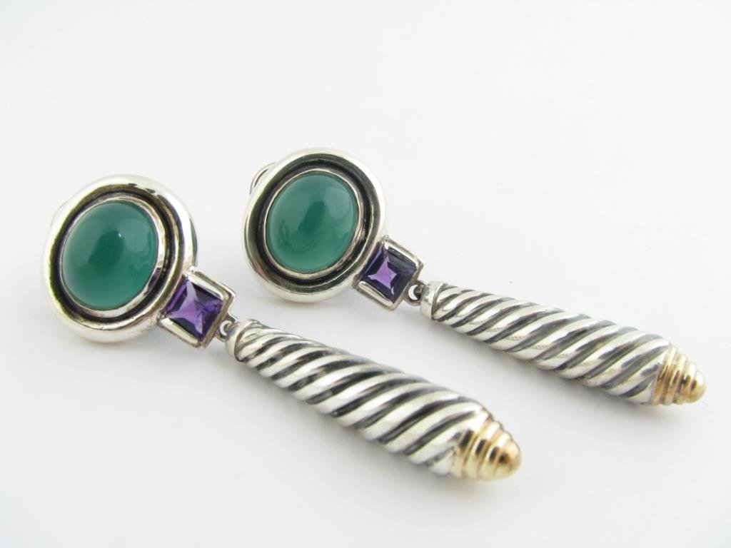 Yurman Amethyst And Green Chalcedony Drop Earrings