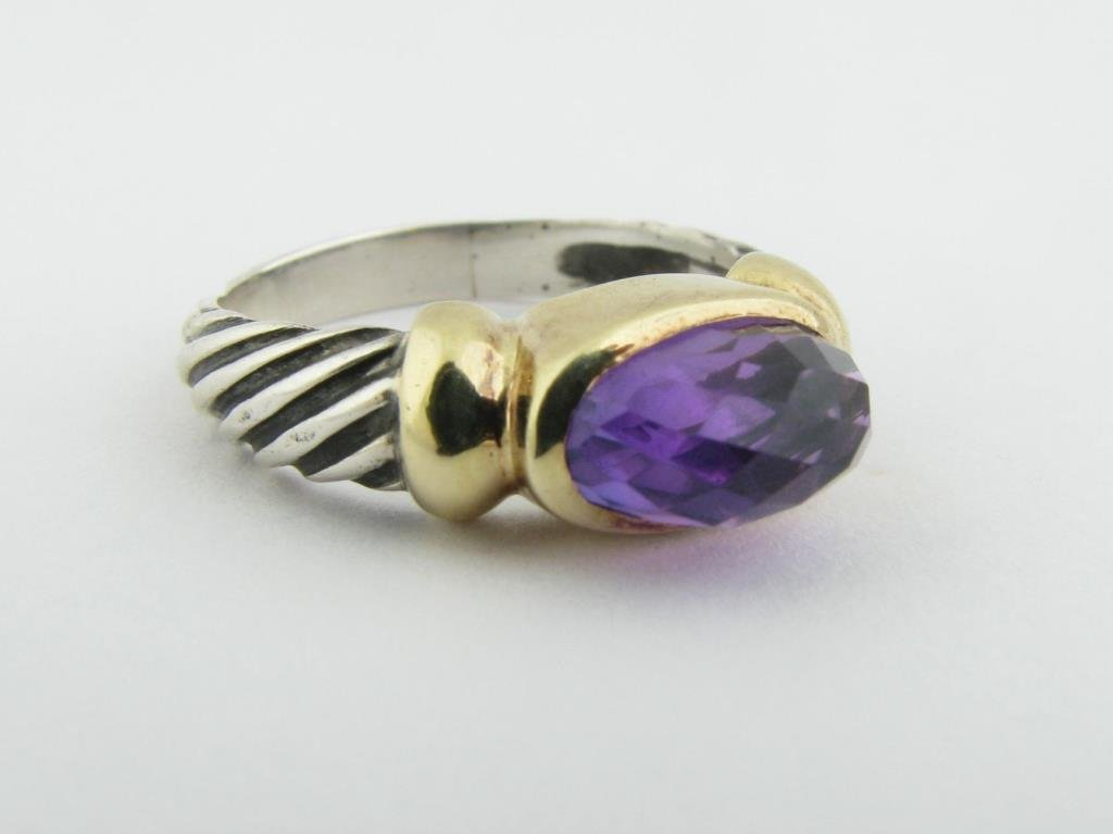 Sterling/18k Yellow Gold Yurman Amethyst Ring
