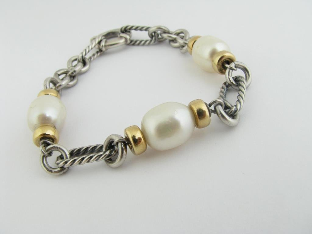 18k/Sterling David Yurman Pearl Link Bracelet